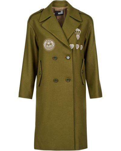 Шерстяное пальто - зеленое Love Moschino