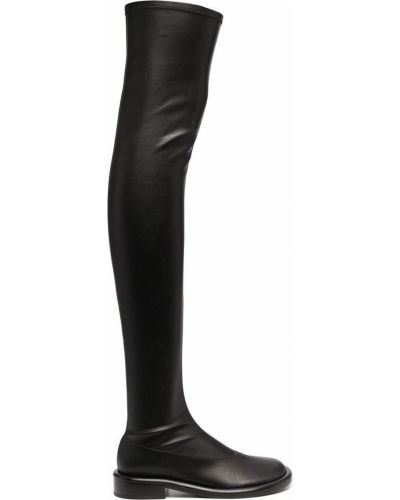 Черные кожаные ботфорты на каблуке Proenza Schouler