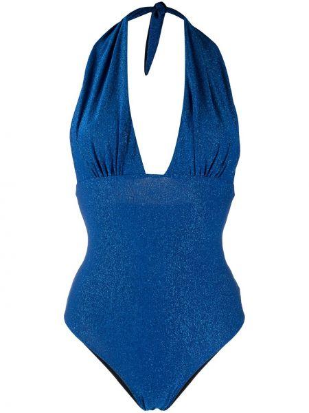 Синий пляжный слитный купальник с вырезом Mc2 Saint Barth