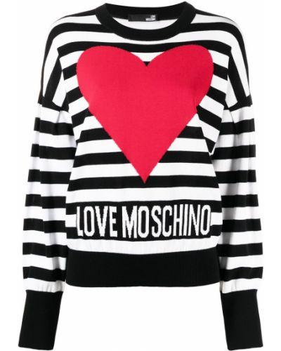 Bawełna bawełna z rękawami sweter z okrągłym dekoltem Love Moschino