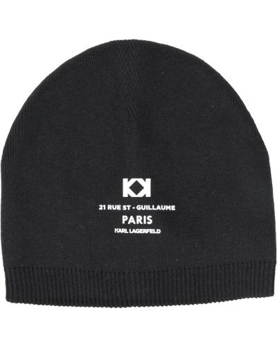 Хлопковая черная шапка в рубчик Karl Lagerfeld Kids