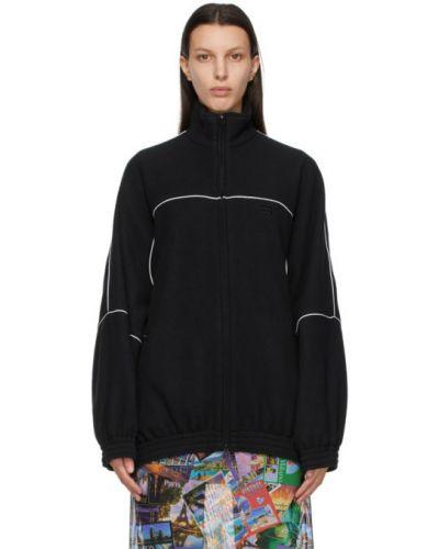Czarny długi sweter z haftem z długimi rękawami Balenciaga