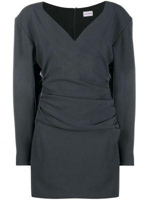 Шелковое серое с рукавами платье макси Magda Butrym