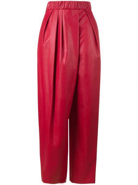 Спортивные красные спортивные брюки с высокой посадкой из вискозы Vika Gazinskaya