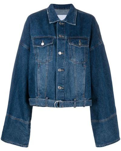 Синяя джинсовая куртка с поясом свободного кроя Sjyp