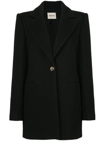 Черное пальто с капюшоном из альпаки Khaite