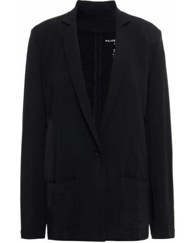 Черный пиджак с накладными карманами с заплатками Majestic Filatures