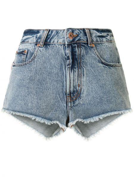 Однобортные классические джинсовые шорты с карманами со стразами Filles A Papa