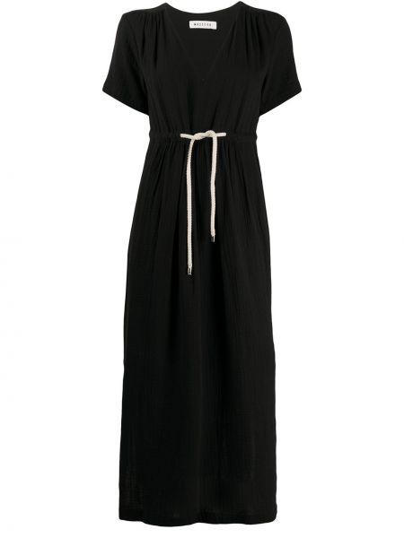Черное плиссированное платье миди с разрезами по бокам на молнии Masscob