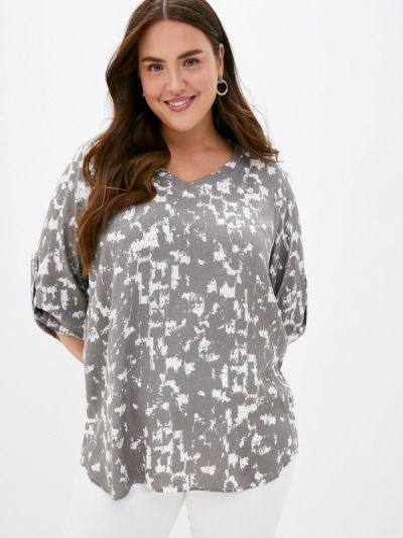 Серая блузка с длинным рукавом с длинными рукавами Intikoma