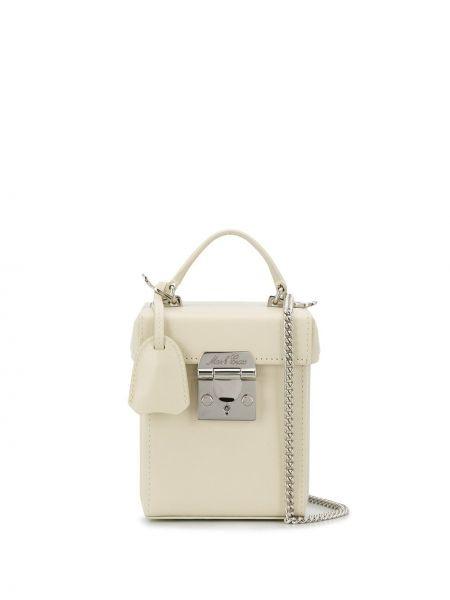 Кожаная белая сумка через плечо с перьями с карманами Mark Cross