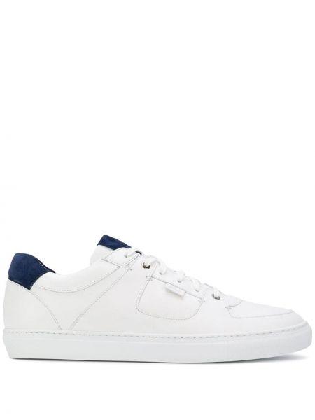 Skórzane sneakersy białe z logo Brioni