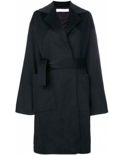 Однобортное синее пальто классическое с капюшоном Victoria Beckham