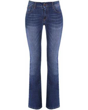 Синие расклешенные джинсы на пуговицах с поясом металлические Gender Denim
