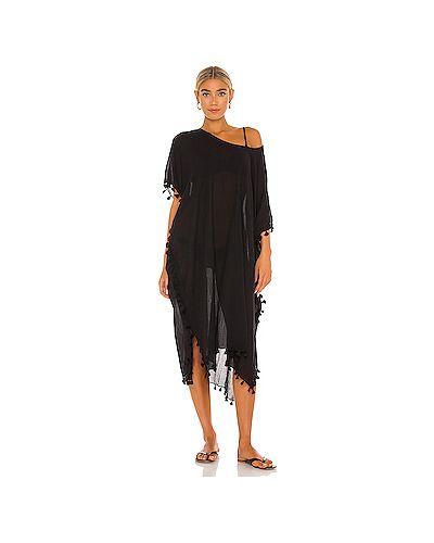 Хлопковое черное платье миди с бахромой с разрезом Seafolly