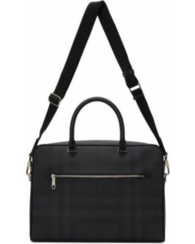 Черный кожаный портфель с карманами Burberry