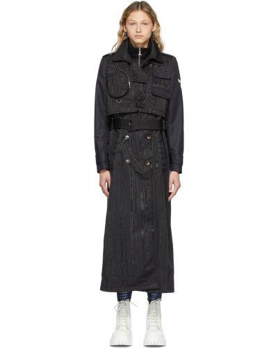 Czarny długi płaszcz z paskiem srebrny Marine Serre