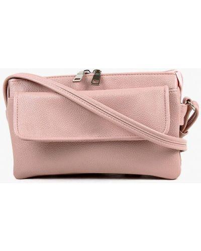 Розовая кожаная сумка через плечо медведково