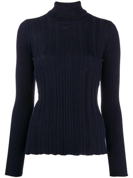 Шерстяной синий свитер с длинными рукавами с заплатками Courrèges