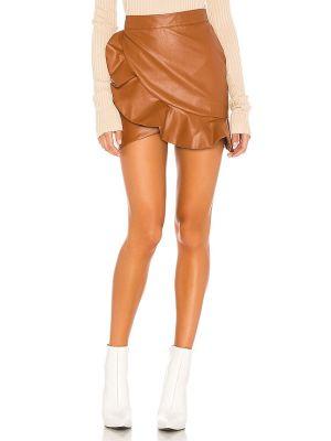 Brązowy bawełna bawełna spódnica mini z zamkiem błyskawicznym Majorelle
