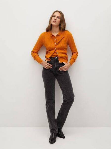 T-shirt dzianinowa - pomarańczowa Mango
