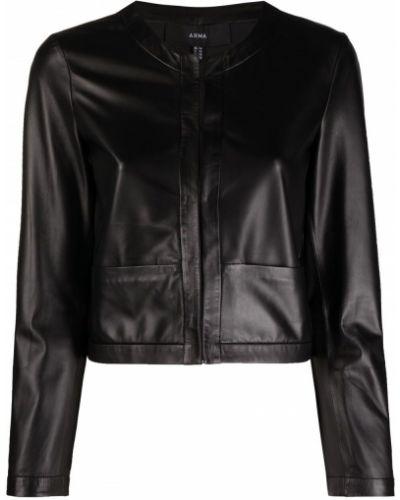 Черная кожаная длинная куртка с накладными карманами Arma