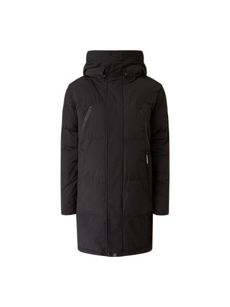 Czarny płaszcz z kapturem bawełniany Khujo