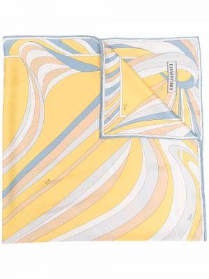 Żółty szalik z jedwabiu z printem Emilio Pucci