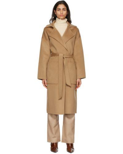 Długi płaszcz wełniany z paskiem z długimi rękawami Nanushka