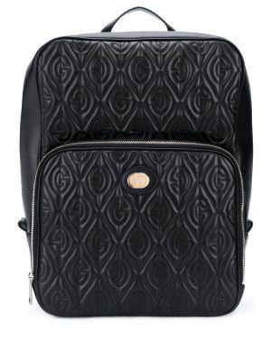 Czarny plecak skórzany z printem Gucci