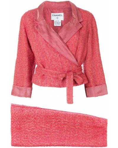 Юбочный костюм розовый шелковый Chanel Vintage