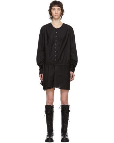Хлопковое черное платье макси с длинными рукавами с воротником Ann Demeulemeester