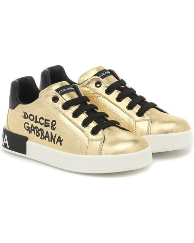 Повседневные кожаные кроссовки золотые из натуральной кожи Dolce & Gabbana Kids
