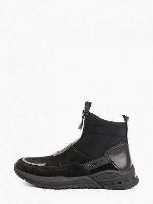 Черные кожаные кроссовки Mascotte