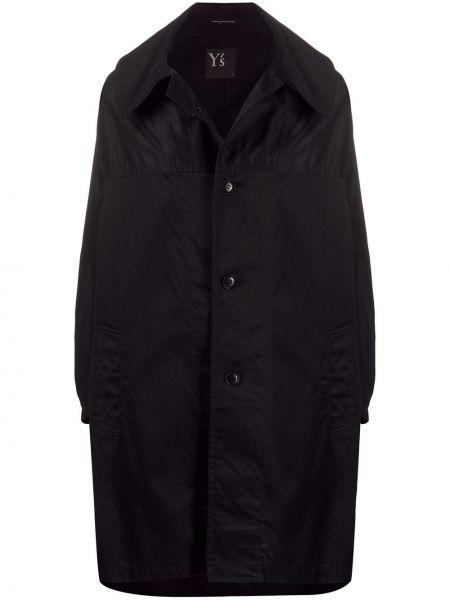 Черное длинное пальто с капюшоном с воротником Y's