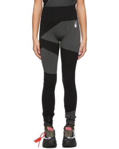Nylon czarny legginsy z paskami rozciągać Off-white