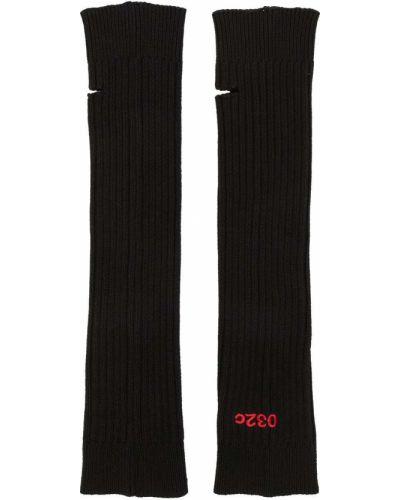 Черные шерстяные митенки с вышивкой 032c