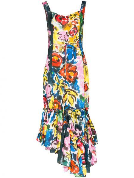 Платье миди с цветочным принтом с оборками Marni