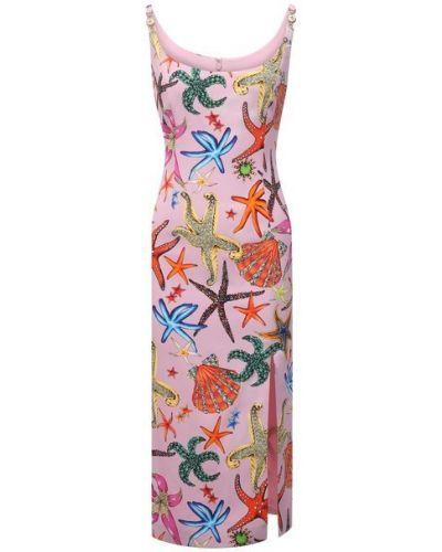 Шелковое розовое платье с подкладкой Versace