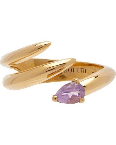 Fioletowy złoty pierścionek ametyst Alan Crocetti