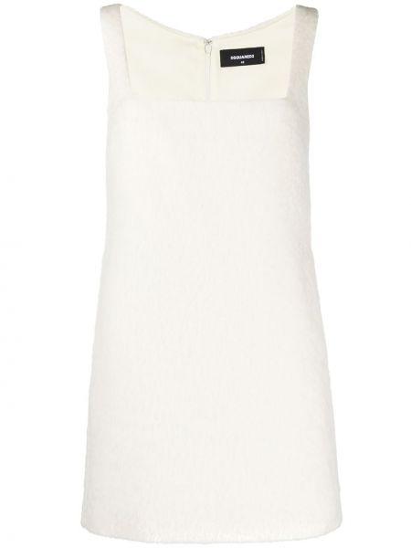 Белое акриловое прямое платье мини без рукавов Dsquared2
