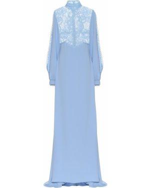 Платье синее с кружевными рукавами Costarellos