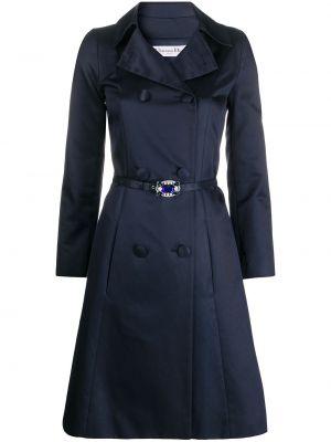 Шелковое синее пальто классическое с воротником двубортное Christian Dior