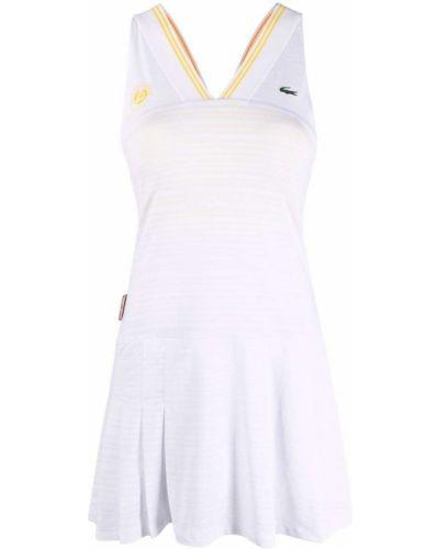 Платье с V-образным вырезом - белое Lacoste