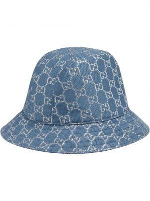 Wełniany niebieski kapelusz Gucci