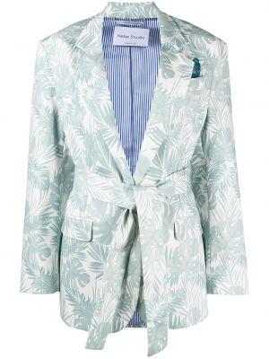 Синий удлиненный пиджак с поясом в полоску Hebe Studio