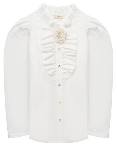 Хлопковая белая блуза Monnalisa