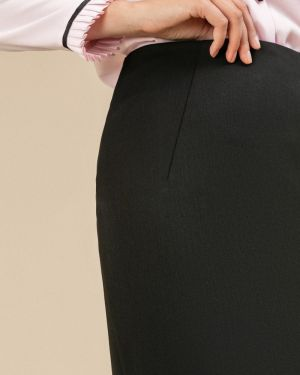 Юбка миди с завышенной талией - черная Emka