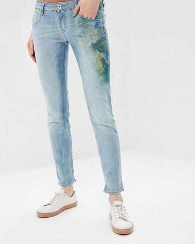 Голубые джинсы-скинни Gas