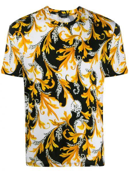 Хлопковая желтая с рукавами футболка Versace